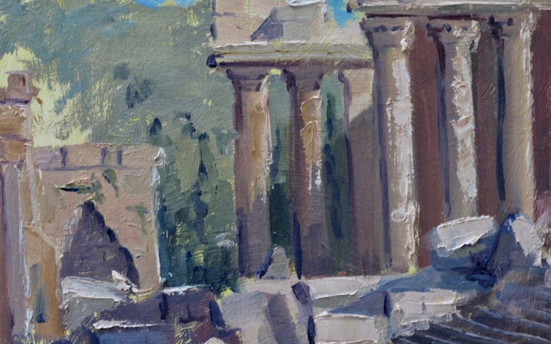 Lebanon:  Painting the magnificent Temple of Bacchus in Baalbek